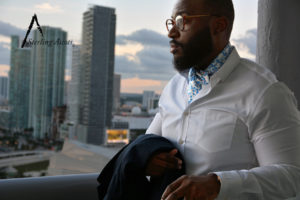 The Shinjuku Sterling Ascot paired with a white dress shirt and navy blue double breasted blazer (overlooking Miami). The Shinjuku Sterling Ascot only at SterlingAscots.com ~ Brickell area Miami, FL