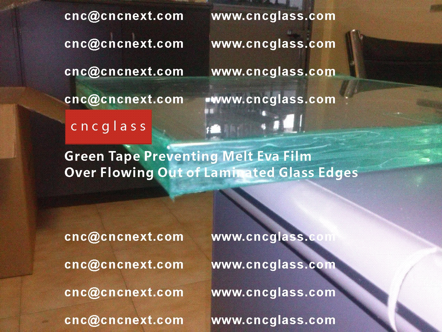 001 Green Tape Preventing Melt Eva Film Over Flowing Out of Laminated Glass Edges