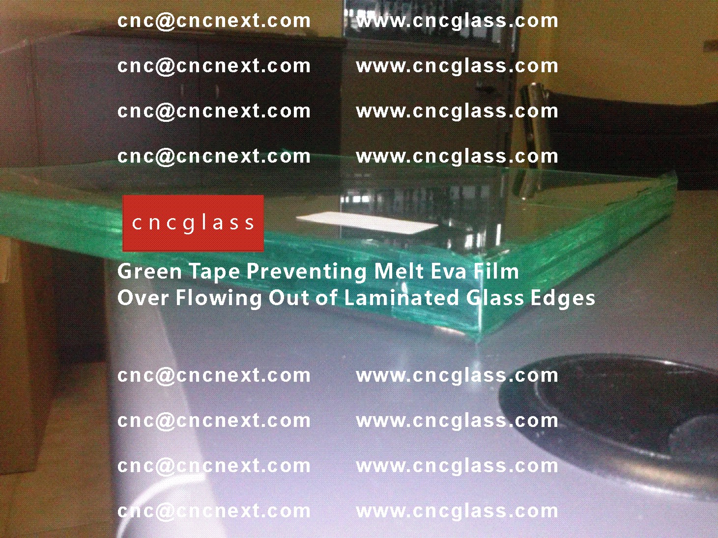 002 Green Tape Preventing Melt Eva Film Over Flowing Out of Laminated Glass Edges