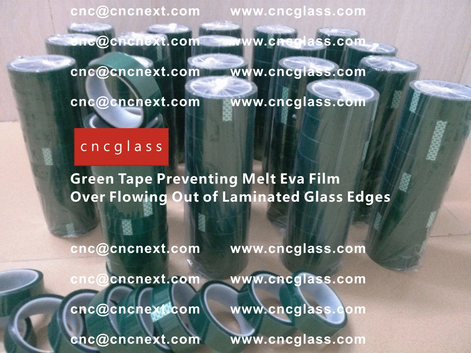 005 Green Tape Preventing Melt Eva Film Over Flowing Out of Laminated Glass Edges