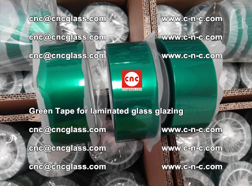 High Temperature PET Silicone Green Tape for Safety glass laminating (12)