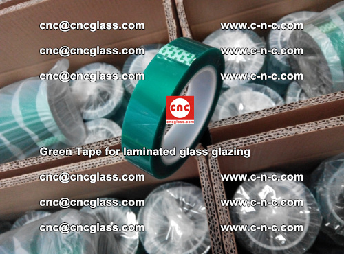 High Temperature PET Silicone Green Tape for Safety glass laminating (15)