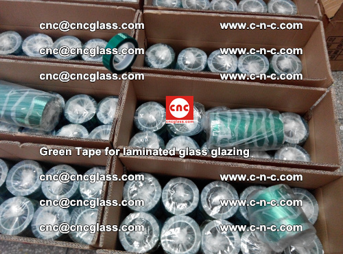 High Temperature PET Silicone Green Tape for Safety glass laminating (3)
