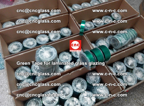High Temperature PET Silicone Green Tape for Safety glass laminating (6)