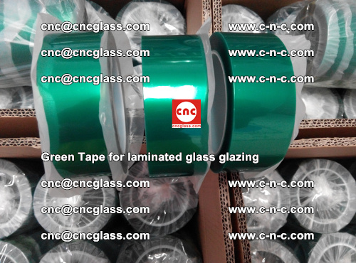 High Temperature PET Silicone Green Tape for Safety glass laminating (13)