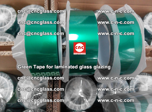 High Temperature PET Silicone Green Tape for Safety glass laminating (48)