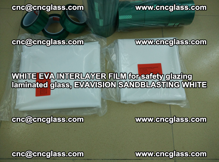 WHITE EVA INTERLAYER FILM for safety glazing laminated glass, EVAVISION SANDBLASTING WHITE (75)