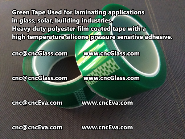 Green tape is made of Heavy duty polyester film coated tape with a high temperature silicone pressure sensitive adhesive (1)