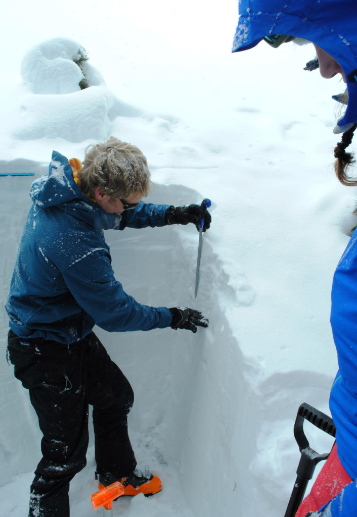 Colin explains how to test layers throughout the snowpack