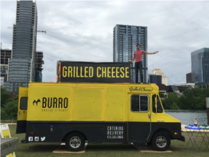 Burro Cheese Kitchen setting up at the Finish Line Festival.