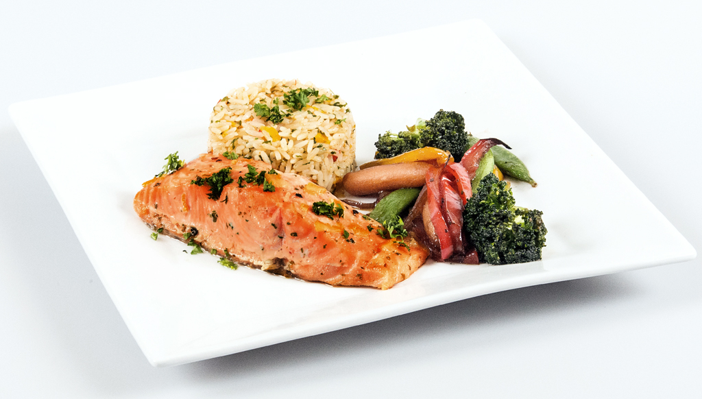 Grilled Salmon with Citrus Rice Pilaf and Stir Fried Vegatables