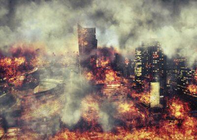 Apocalypse. Burning city, abstract vision.Photo manipulation