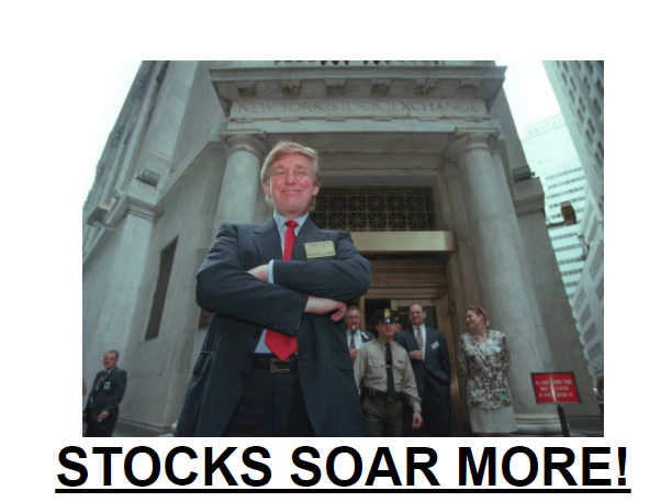 Image of Donald Trump in front of New York Stock Exchange
