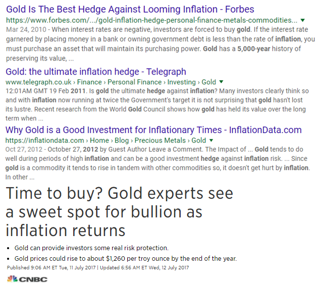 Image of google listing showing Gold as the best hedge against inflation