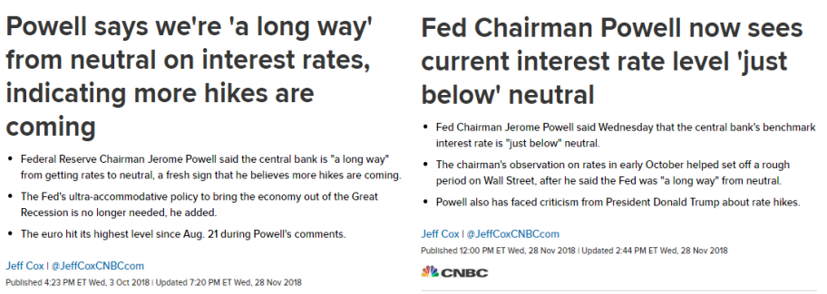 Fed chairman Jerome Powell's definition of neutral changed from 'a long way' to 'just below'