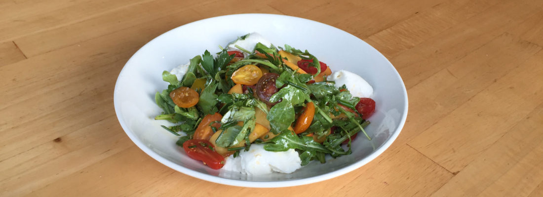 Salad Special: Heirlooms and Peaches with Burrata and Arugula