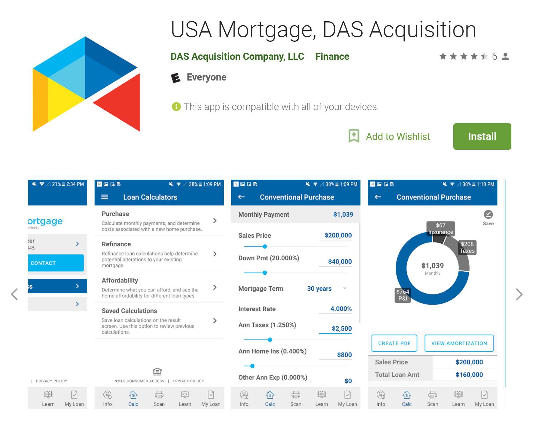 USA Mortgage, Das app