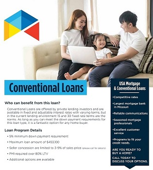 Conventional Loans flyer | USA Mortgage - Columbia, Missouri
