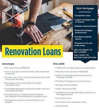Renovation Loans flyer | USA Mortgage - Columbia, Missouri