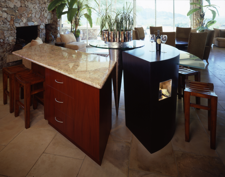 island, custom island, steel cone, lazy susan, artwork cove, art cubby in cabinets, veneer cabinetry