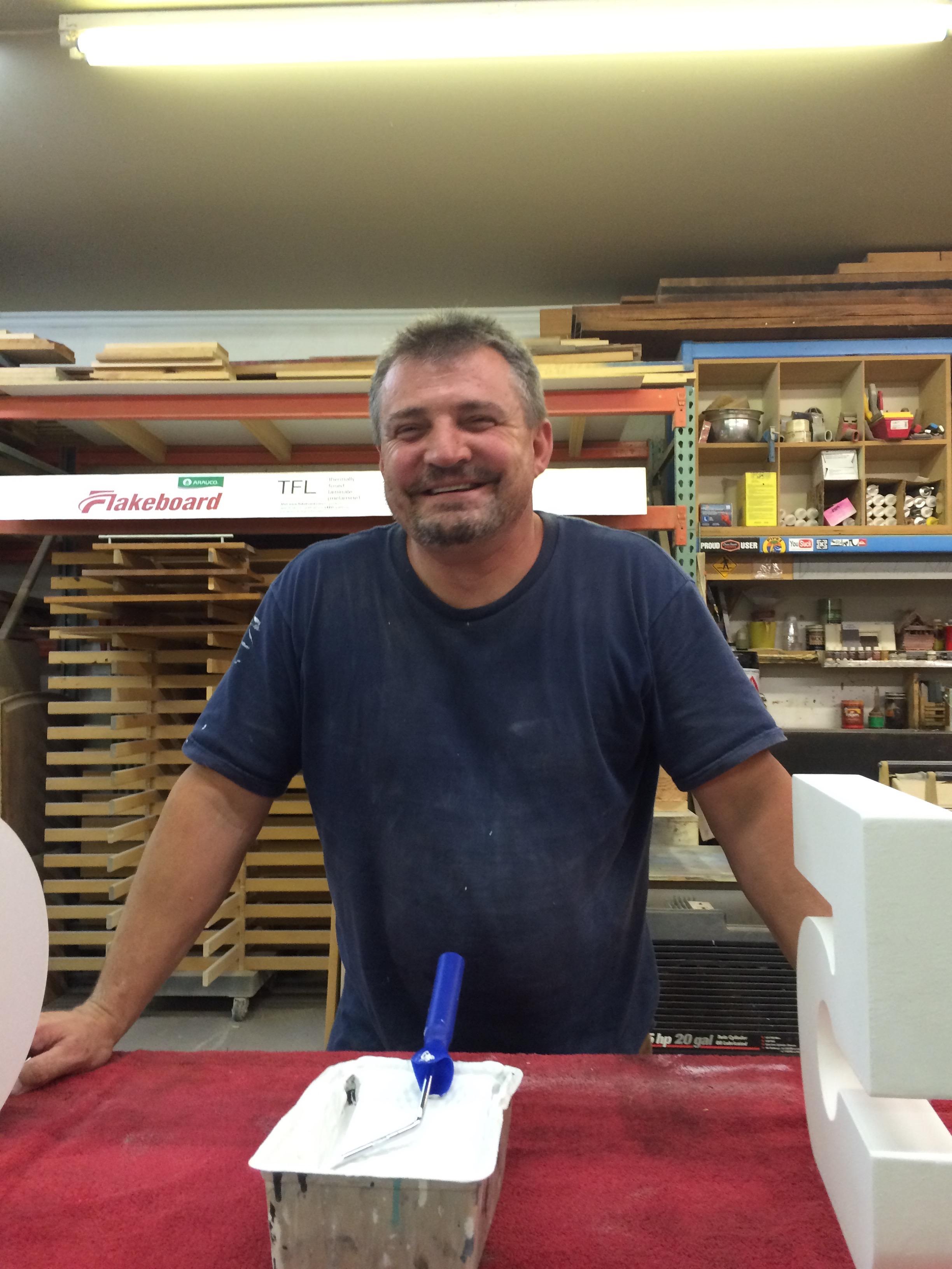 Dave in shop, David Perrin, David in DCM shop, DCM, Dave's custom Millwork, dcmperrin