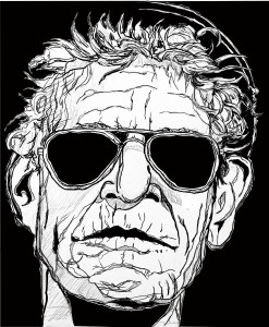 The vector portrait drawing of Lou Reed