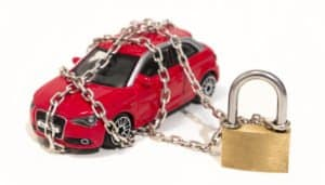 car secured by chains