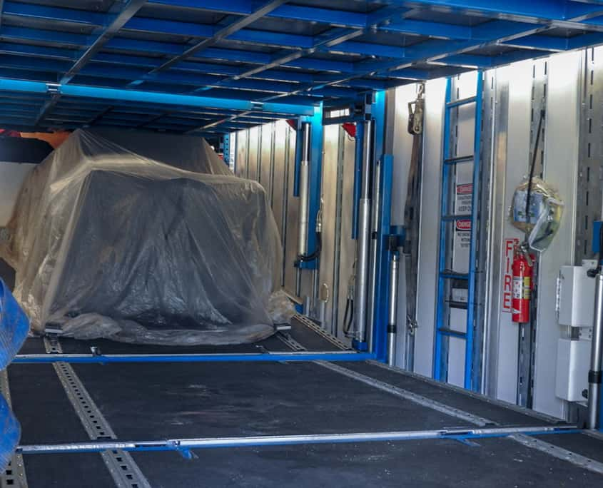 the inside of an enclosed car trailer