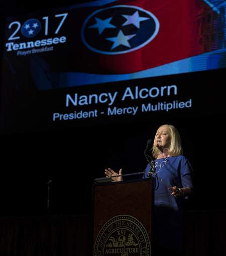 Nancy Alcorn, offering a Prayer for the Struggling at the 2017 Tennessee Prayer Breakfast