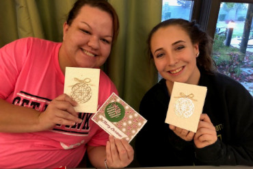 Mercy Multiplied Sacramento learns card crafting from volunteer Janice Rosenthal