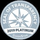 2019 GuideStar Platinum Seal of Transparency