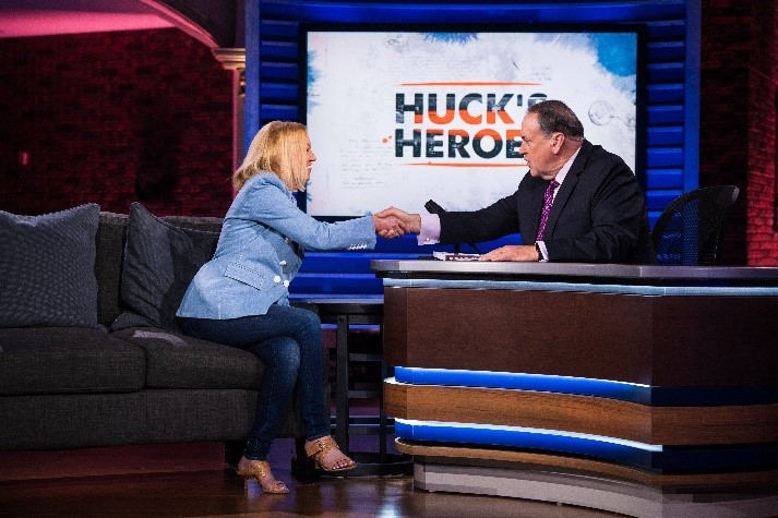 "Nancy Alcorn as a guest on TBN's ""Huckabee"" with Former Governor of Arkansas Mike Huckabee"