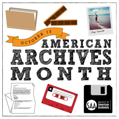 American Archives Month Logo by Eve Neiger, archivist at Yale University