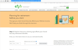 Go to CFPB Social Security Claiming Tool Website