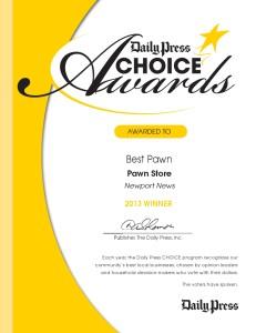 Best Pawn Award Winner Newport News
