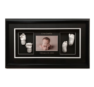 WP Creations Triple Shadow Box Black Frame Two Hands Two Feet