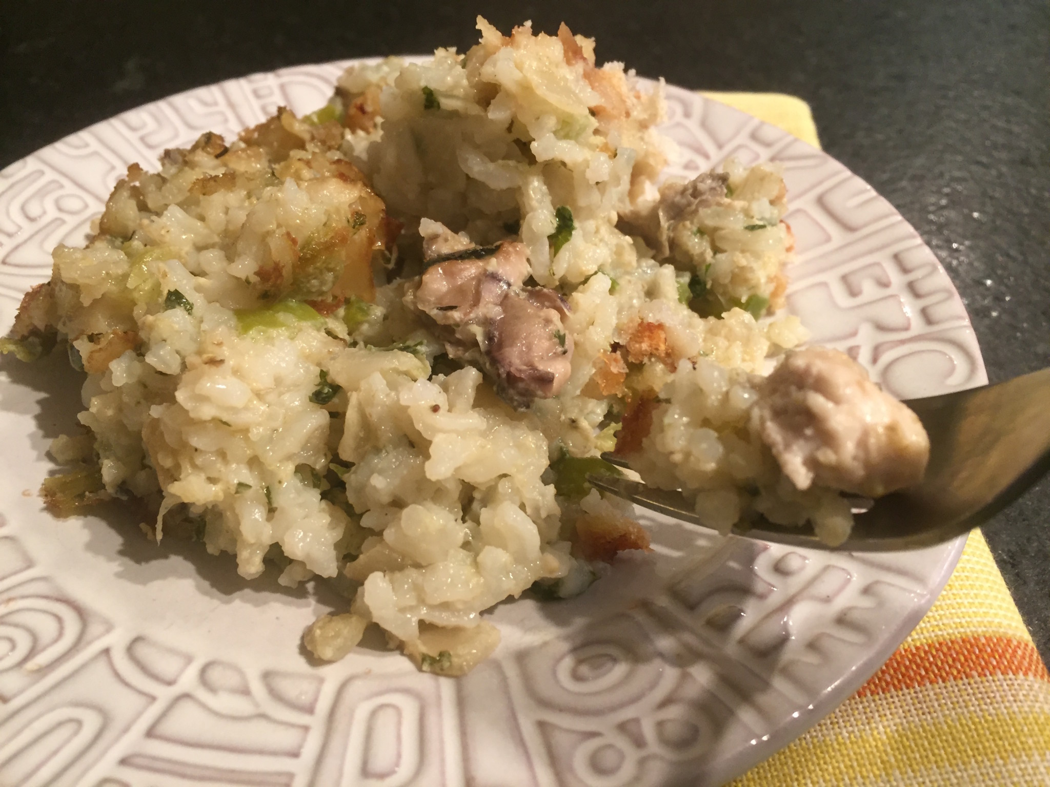 Serving of Craig Claiborne's oyster and rice dressing recipe from the New York Times (1987).