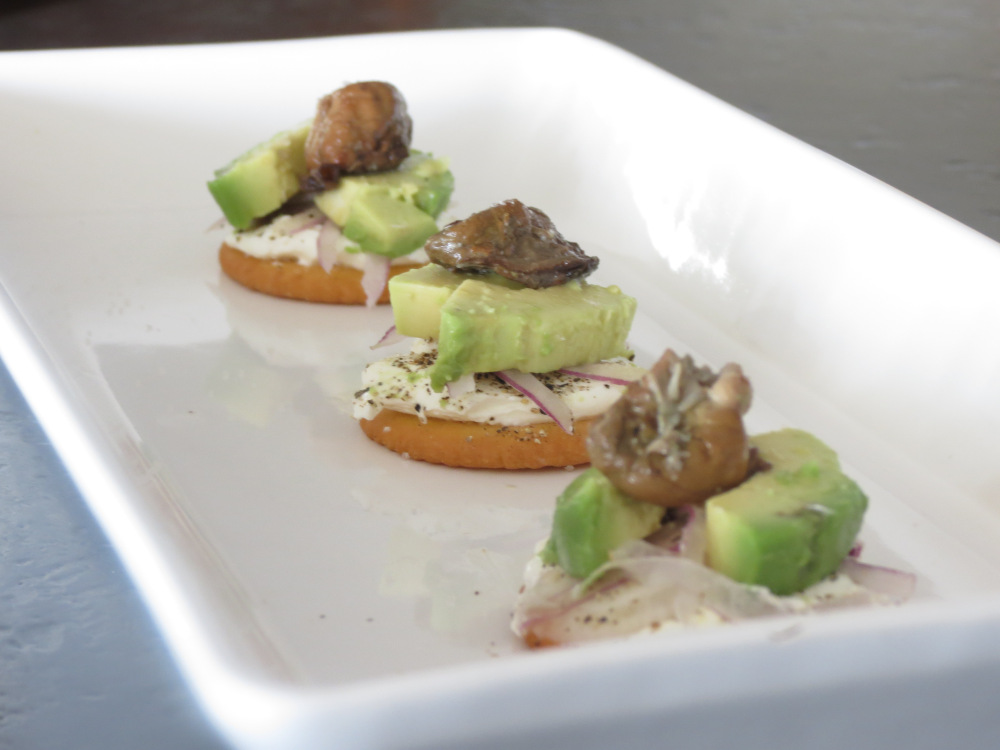 Smoked Oyster and Avocado Crackers