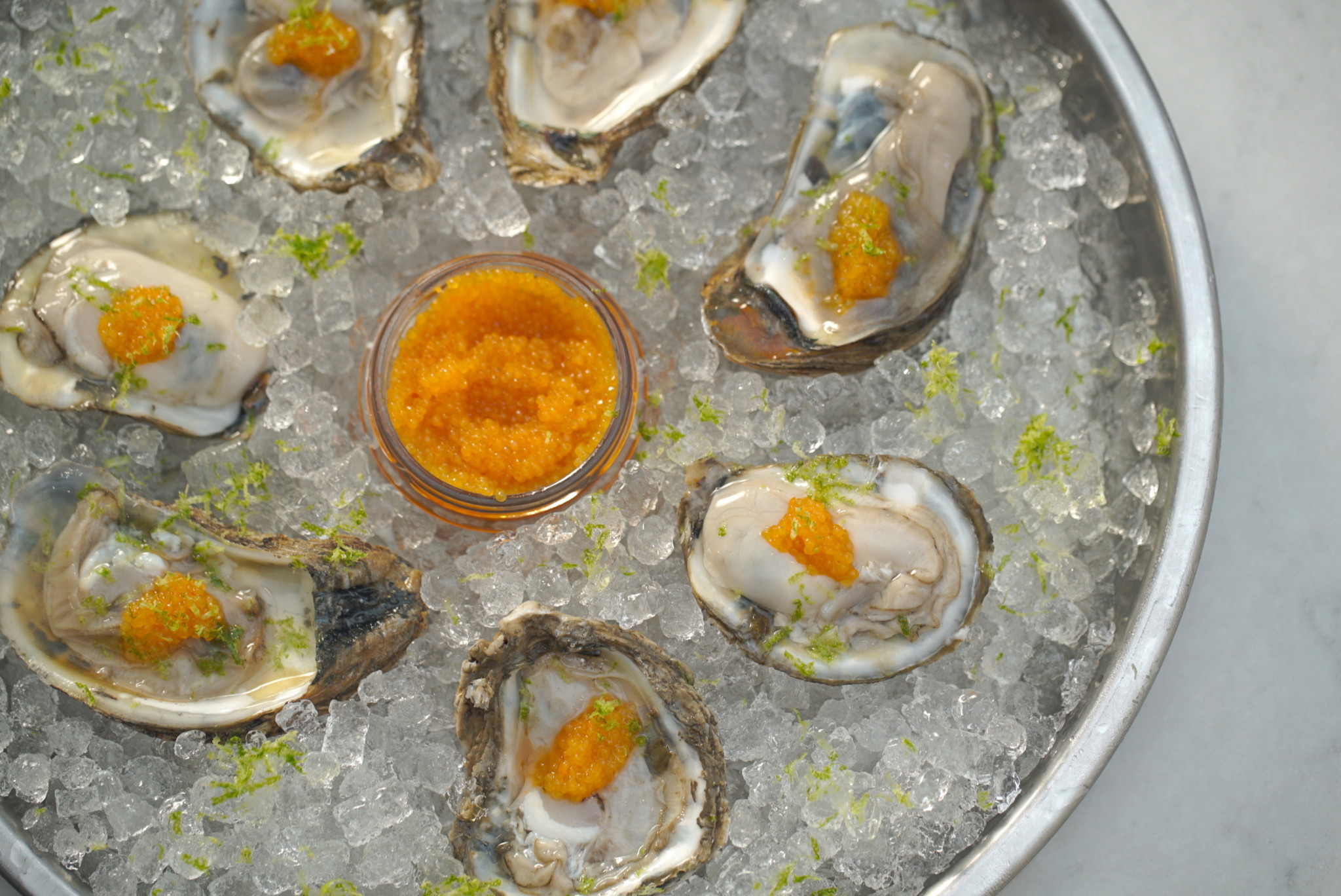gin oysters on the half shell