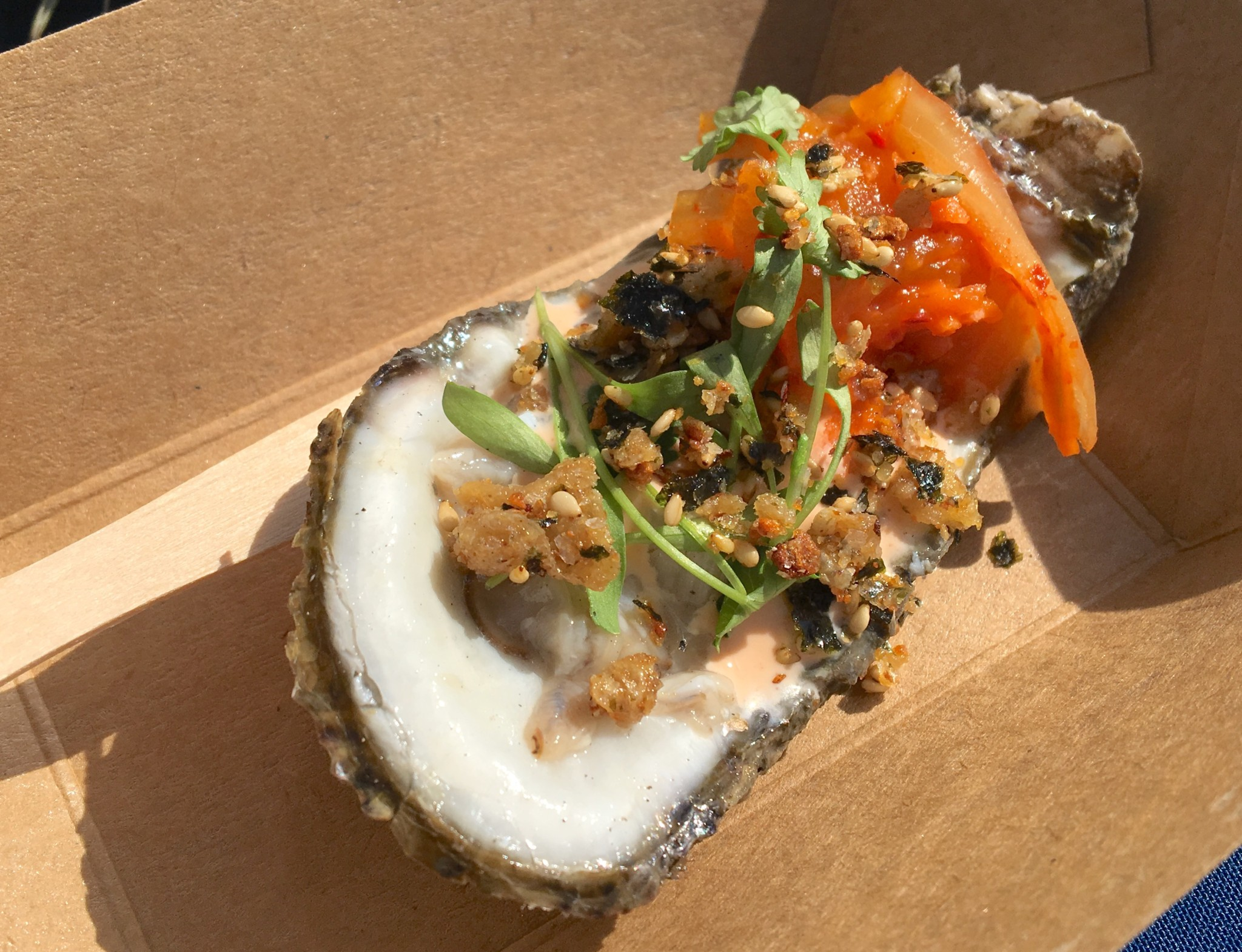 Alabama Oyster with Pumpkin Kimchi and Chicken Skin Furikake from Saltine.