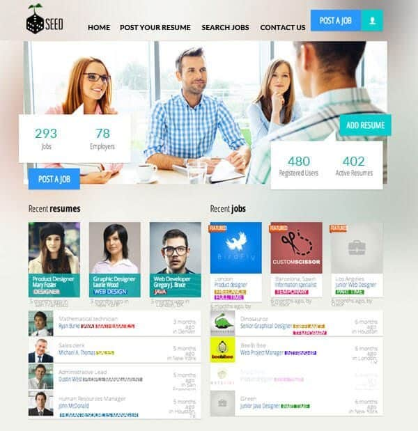 seed job board website design