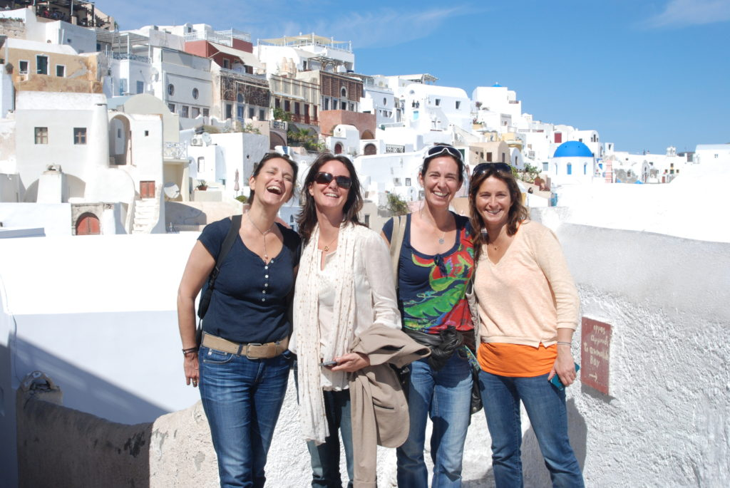 Sky Pilates and Yoga Retreats with guests in Santorini Greece