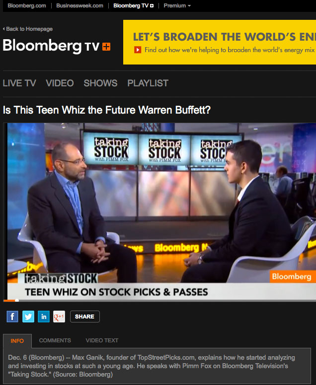Interview with Mr. Pimm Fox on Bloomberg TV