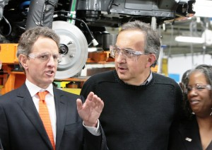 Chrysler Group CEO Sergio Marchionne (right) escorts U.S. Treasury Secretary Tim Geithner (left) on a tour of Jefferson North Assembly Plant (JNAP) during Geithner's Detroit visit today. Marchionne