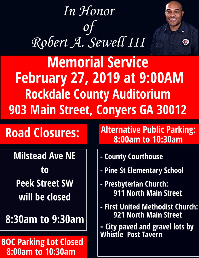 Celebration of Life Memorial Service for Firefighter Robert A. Sewell III @ Rockdale County Auditorium