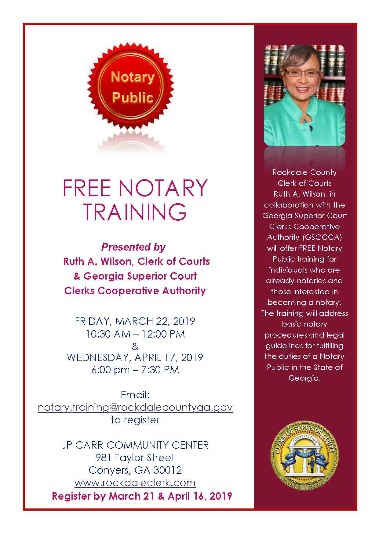 Free Notary Training - Presented by Ruth A. Wilson, Clerk of Courts & Georgia Superior Court Clerks Cooperative Authority @ J.P. Carr Community Center