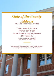 Chairman Oz Nesbitt, Sr. to Deliver 2019 State of the County Address @ JP Carr Community Room