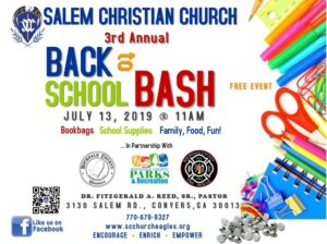 Back to School 2019 Kick off for Rockdale Residents @ Salem Christian Church