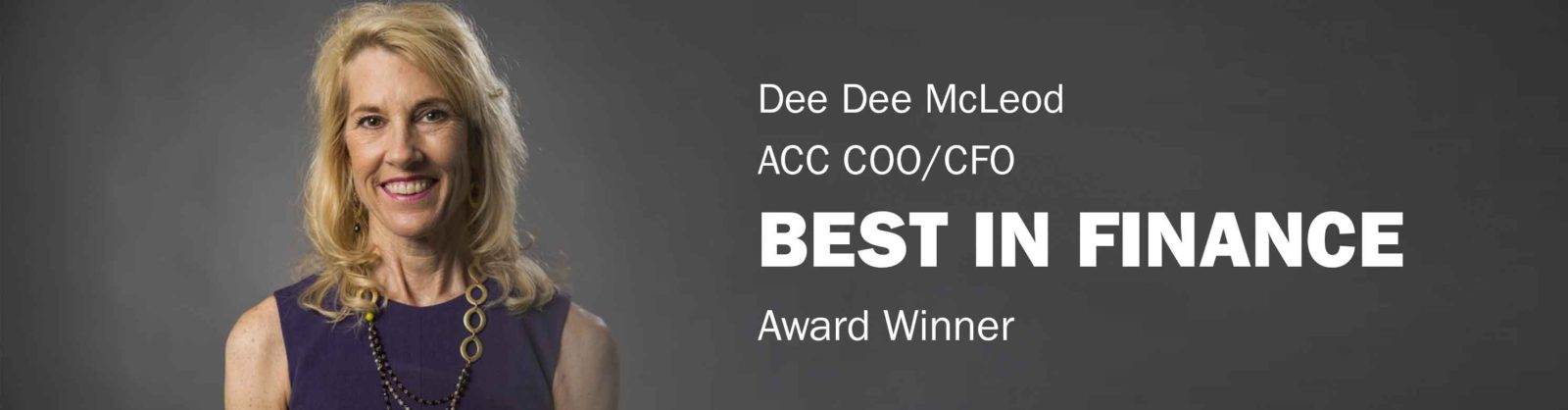 Best in Finance Award Winner Dee Dee McLeod Banner