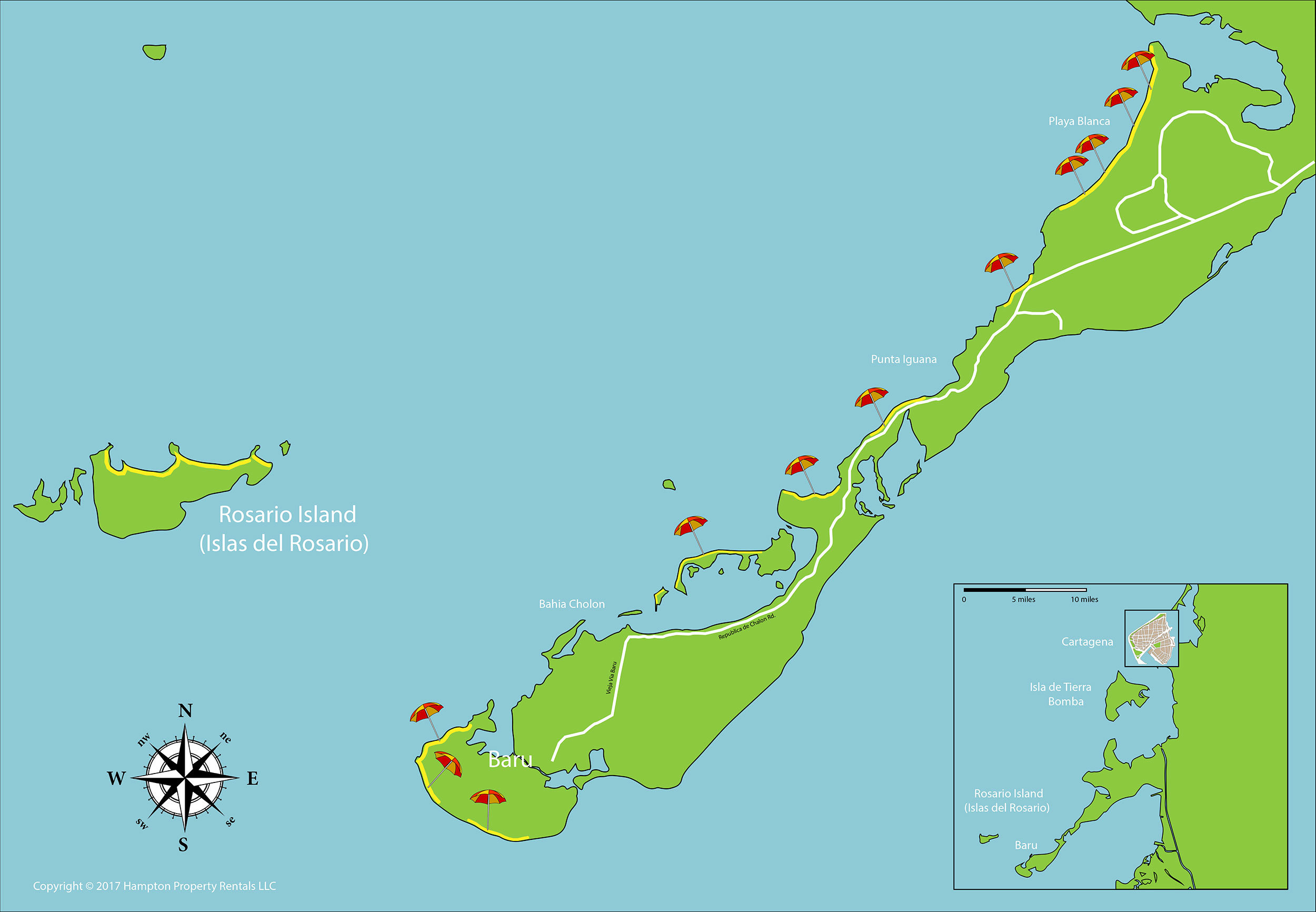 Map of Rosario Islands and Baru